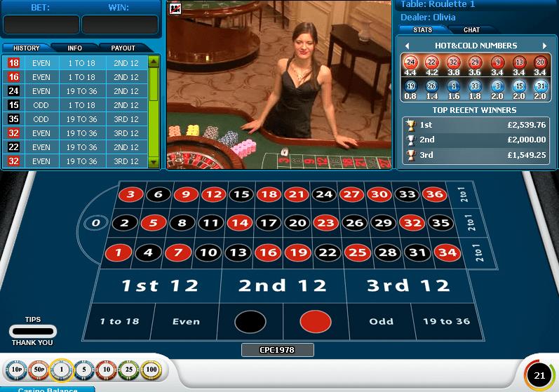 Live Roulette su WH