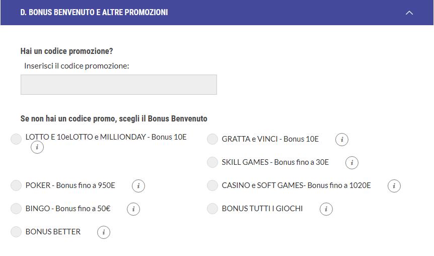 bonus registrazione lottomatica
